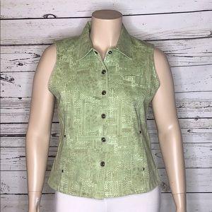 Christopher & Banks NWT XL Grn Floral Vest Jacket